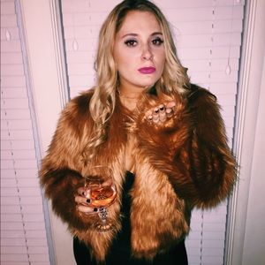 Rusty orange fur jacket from Forever 21